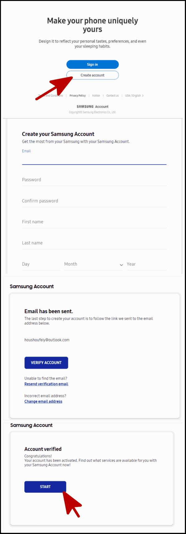Samsung account erstellen