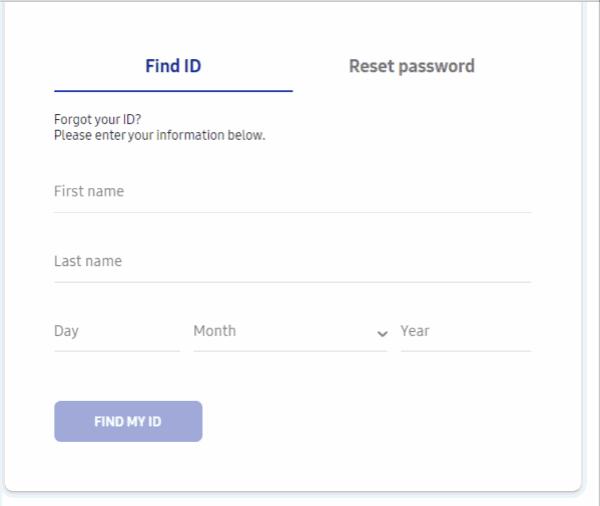Samsung account finde
